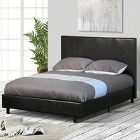 Black Faux Leather Bed Frame  - Double
