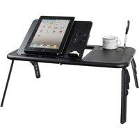Adjustable Laptop Desk Foldable Stand with Cooling Fan - Black