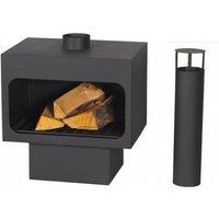 Arizona Freestanding Steel Wood Burning Fireplace with Chimney - Black