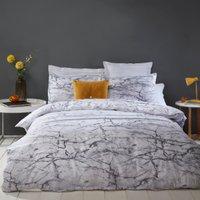 Marble Stripe Metallic Silver Duvet Cover and Pillowcase Set - Single