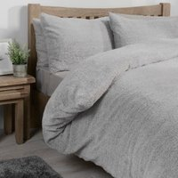 Teddy Fleece Duvet Cover and Pillowcase Set - Silver / Double
