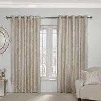 Medina Jacquard Eyelet Curtains - Champagne / 137cm / 168cm
