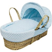 Blue Dimple Moses Basket with Natural Opal Folding Stand