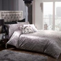Prince Crushed Velvet Duvet Cover and Pillowcase Set - Silver / Double