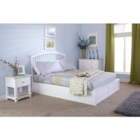 Madrid Ottoman Bed Frame - White / Double