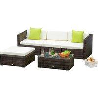5 Pieces Rattan Sofa Set - Brown