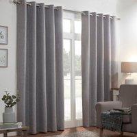 Basketweave Thermal Eyelet Curtains - Silver / 229cm / 168cm