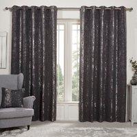 Medina Jacquard Eyelet Curtains - Charcoal / 229cm / 168cm