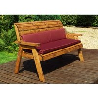 Charles Taylor Three Seater Winchester Bench With Cushions - Redwood/Burgundy