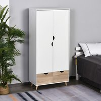 2-Door Clothes Wardrobe - White and Brown