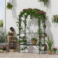 Garden Arbour Bench Plant Climbing Support - Black