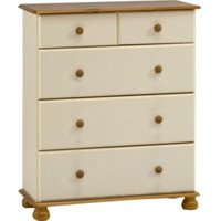 Richmond Deep Five Drawer Chest - Cream and Pine