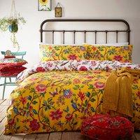 Tropical Floral Duvet Cover Set - Yellow / Double
