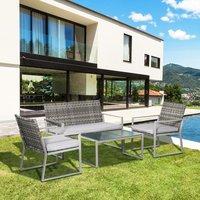 Rattan Garden Furniture Set - Grey