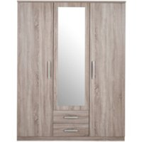 Riviera Three Door Two Drawer Mirror Wardrobe - Light Oak