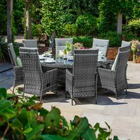 Ruxley 8 Seater Rattan Round Dining Set - Grey