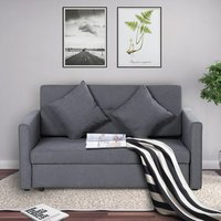 2-Seater Storage Sofa Convertible Bed - Grey