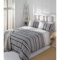 Marlowe Grey Stripe Duvet Cover and Pillowcase Set - Grey / Single