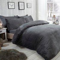 Waffle Fleece Duvet Cover and Pillowcase Set - Charcoal / King