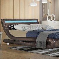 Modern LED Curved Brown Crushed Velvet Bed Frame - Double
