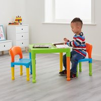Kids Plastic Table and 2 Chair Set - Multicoloured