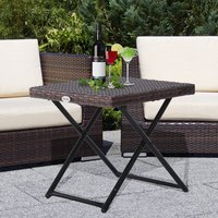 Garden Small Folding Square Rattan Coffee Table - Brown