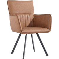 Pair of Carver Dining Chairs With Angled Legs - Tan