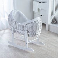 Waffle White Pod Moses Basket with Little Gem Rocking Stand  - White