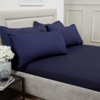 Polycotton Flat Sheet - Navy / King