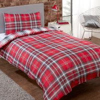 Kirk Check Duvet Cover and Pillowcase Set - Red / King / Polyester Cotton