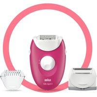 Braun Silk-epil 3-410, Epilator for Long-Lasting Hair Removal - White/Pink