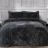 Shaggy Faux Fur Duvet Cover and Pillowcase Set - Charcoal / Single