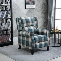 Single Armchair Push Back Recliner  - Blue