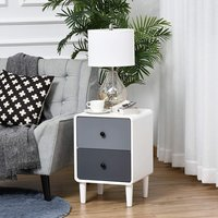 Bedside Table with 2 Drawers - White