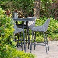 Maze Rattan Regal Four Seater Round Table - Grey