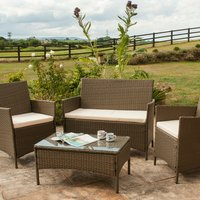 4 Piece Rattan Garden Furniture Set - Brown