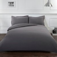 Flannelette Duvet Cover and Pillowcase Set - Charcoal / King