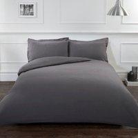 Flannelette Duvet Cover and Pillowcase Set - Charcoal / Double