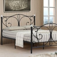 Metal Crystal Finial Bed Frame - Black / Double
