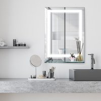 70x50cm LED Light-Up Bathroom Mirror - Silver