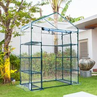 4 Tiers 8 Shelves Metal Frame Walk in Portable Greenhouse  - Transparent / 73cm