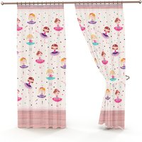 Ballerina Pencil Pleat Lined Curtains - Pink / 54cm