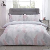 Feather Duvet Cover and Pillowcase Set - Blush / Single