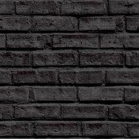 'Brick Wall Wallpaper - Black