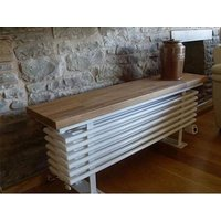 Towelrads Oak Towel Radiator Bench - White/Oak / 1350mm
