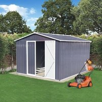 BIRCHTREE Metal Garden Shed With Free Foundation - Grey White / 10ft X 8ft