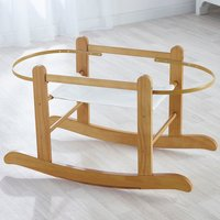 White Waffle Moses Basket with Natural Little Gem Rocking Stand