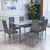 All Grey Glass Dining Table Set and 6 Grey Faux Leather Chairs - Grey