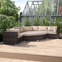 Nova Deluxe Curved Rattan Corner Sofa Set - Brown
