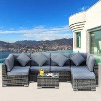 8 Piece Rattan Sofa Garden Furniture Set - Grey